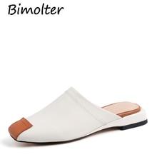 купить Bimolter Square Toe White Women Slippers Square Heel Concise Fashion Mules Shoes Women Genuine Leather Casual Shoes Women FC026 по цене 5157.6 рублей
