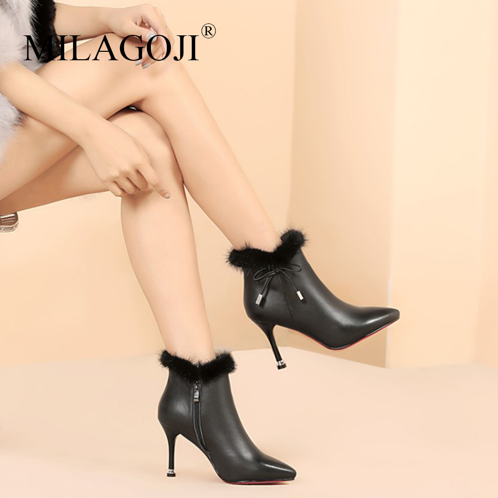 wholesale dealer 04302 55487 Boots Women 2018 Winter New Fashion Full Grain Leather Black Shoes MILAGOJI  Butterfly-knot Cow Leather White Casual Ankle Boots