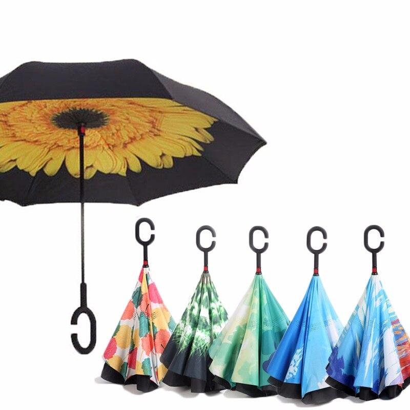 Reverse Umbrellas For Double Layer Umbrella Cloth Inverted Umbrellas Shape Handle Windproof Umbrella Long Handle Rain Gear