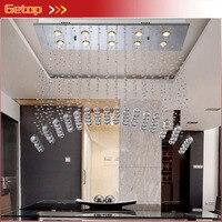 Modern Temizle K9 Kristal Avize Dikdörtgen Kemerli Tasarım Tavan Işık Fikstürü LED Kristal Işıklar L80xW30xH80cm Ücretsiz Kargo