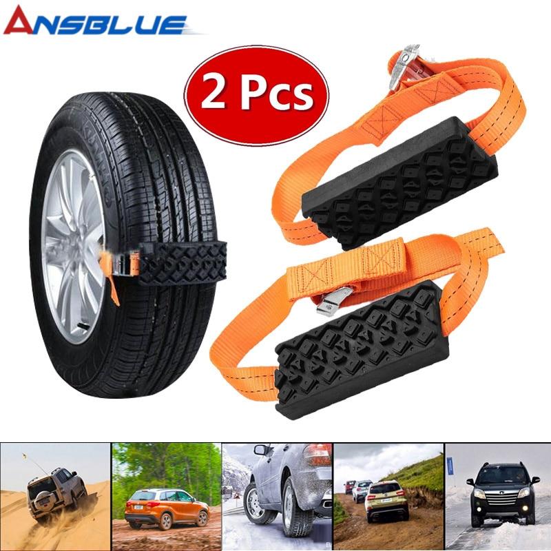 2PCS Tire Chain Strap Snow Chain Anti-Skid Universal Rubber Nylon Chain Automobile Saloon Car tire Emergency Anti-Skid Strap