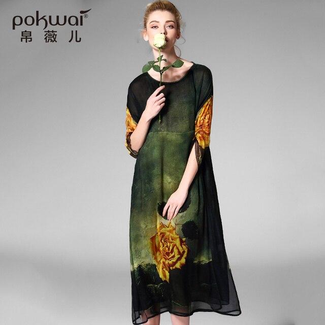 POKWAI Elegant Long Vintage Spring Summer Silk Dress Women 2017 New Arrival High Quality Fashion Empire Retro A-Line Dresses