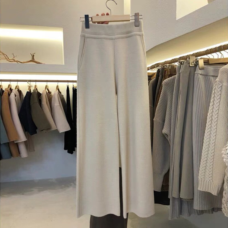 2018 Autumn solid   wide     leg     Pants   Women Vogue Trousers Korean Female Casual Loose Thicken knitted   Pants   All Match Pantalon Femme
