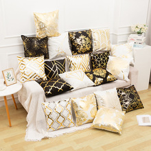 Classical Luxury Printing Golden Pillow Case White Black Yellow Soft Decorative Cushion Covers for Sofa Throw Pillows