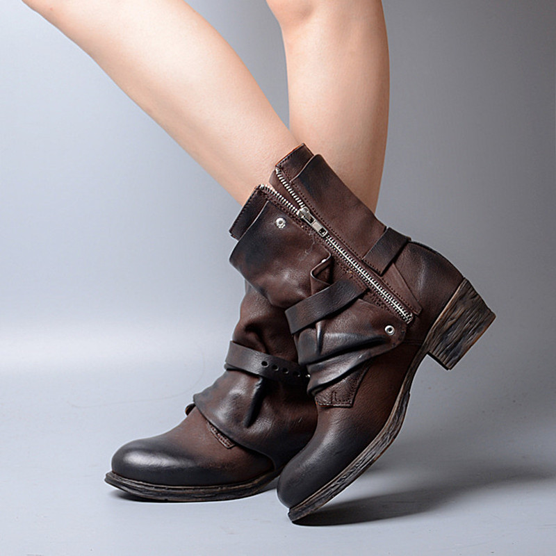 Prova Perfetto جديد وصول الرجعية تصميم مطوي جلد طبيعي خليط امرأة الأحذية مشبك حزام كعب منخفض البريدي أحذية بوت قصيرة-في أحذية الكاحل من أحذية على  مجموعة 3