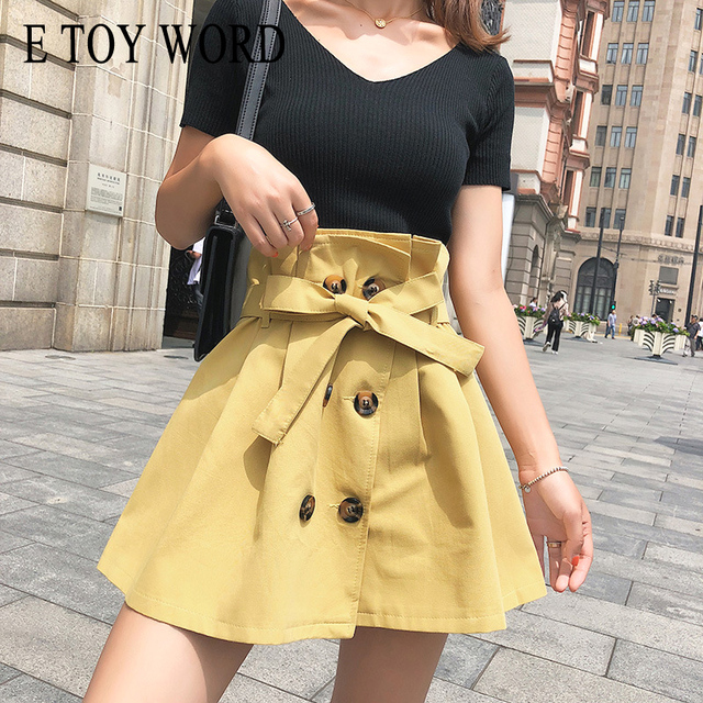 E TOY WORD Slim black Short sleeve elastic knitting tops V-neck Women's Sets High waist strap double breasted skirt
