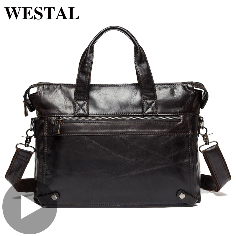 Westal Big Shoulder Business Messenger Women Men Bag Genuine Leather Briefcase For Document Holder Handbag Male Female Laptop A4