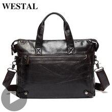 Westal Big Shoulder Business Messenger Women Men Bag Genuine Leather Briefcase For Document Holder Handbag Male Female Laptop A4