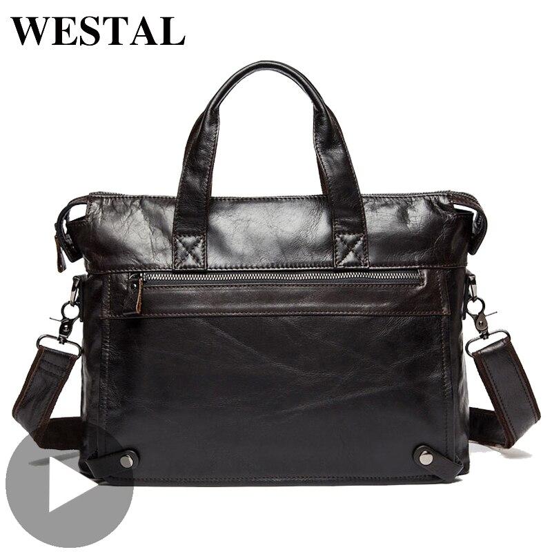 Westal Große Schulter Business Messenger Frauen Männer Tasche Aus Echtem Leder Aktentasche Für Dokument Halter Handtasche Männlich weibliche Laptop A4-in Aktentaschen aus Gepäck & Taschen bei  Gruppe 1