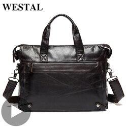 Westal, bandolera grande de negocios, bolso para mujer y hombre, maletín de piel auténtica pARA porta documentos, bolso para hombre y mujer, portátil A4
