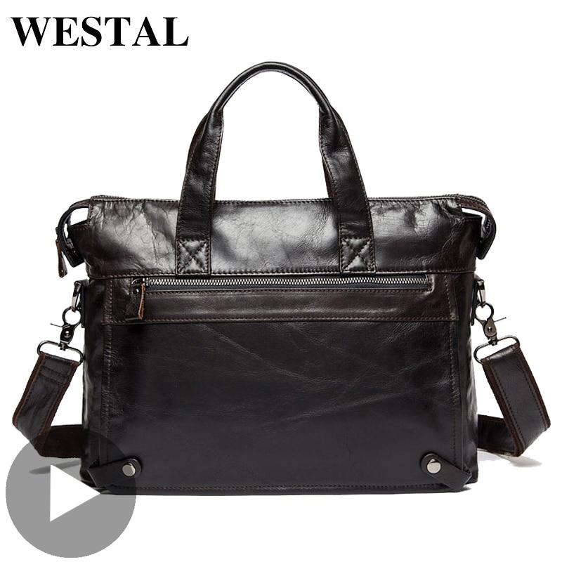 Westal grande épaule affaires messager femmes hommes sac véritable mallette en cuir pour porte Document sac à main mâle femme ordinateur portable A4