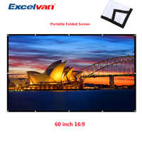 Excelvan 60 inch Simple Folded Projection Screen Wrap Fabric Roll Up 16:9 Cloth Screen with hole for projector Home theater