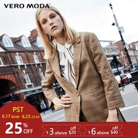 Vero Moda three quarter Sleeves Plaid Long Jacket Blazer |318308518