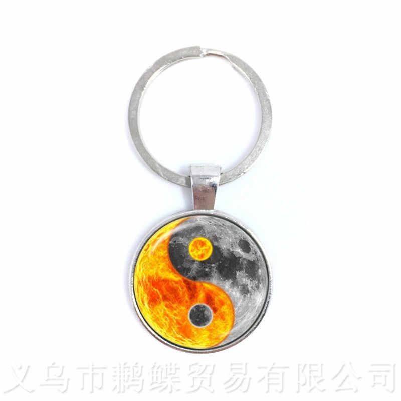 Black and White Yin Yang Symbol Jewelry  Glass Dome Keychains Taoism Buddhism Spiritual Yin-Yang Harmony Keyring