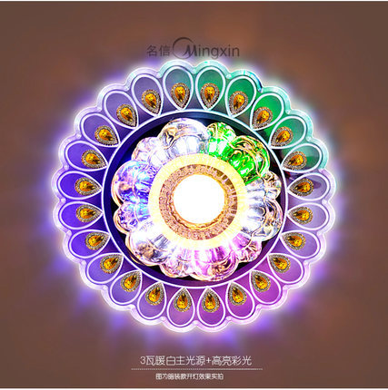 Led aisle lights corridor lights modern entrance lights colorful peacock crystal ceiling light g076