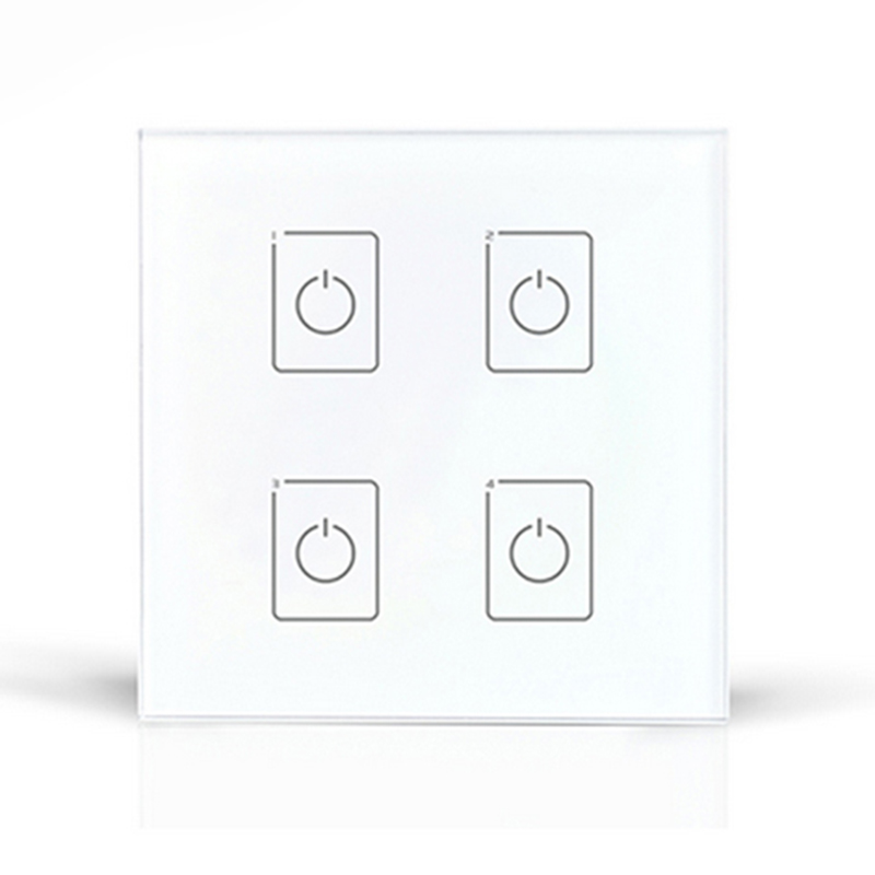 DA4 touch panel 4 roads on/off touch dimmer DALI series touch panel controller for led light wall controller 220V ltech da6 wall mount knob panel dali dimmer controller on off switch 64 single address 16 group address and broadcast address