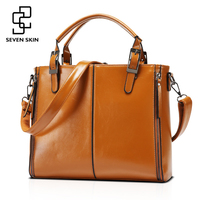 SEVEN SKIN 2017 PU Solid Leather Bags Handbags Women Luxury Designer Famous Brands Messenger Bags Casual