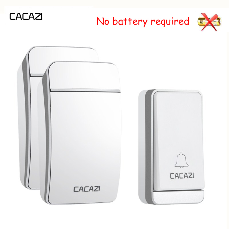 CACAZI Home Waterproof Wireless Doorbell Self-Powered LED Light No Battery Button Cordless Ring Bell EU Plug 38 Chime 3 Volume