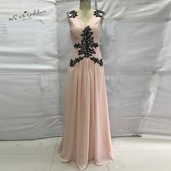 Vestido de Gala Cheap Pink Black Lace Prom Dresses Long 2017 Beads Women Formal Evening Party Gowns Dress for Graduation Baile