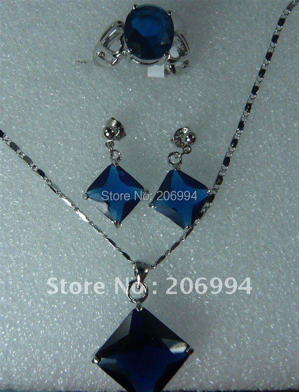 Модные ювелирные изделия синий цирконовая подвеска на Ожерелье Кольцо Серьги Набор#179
