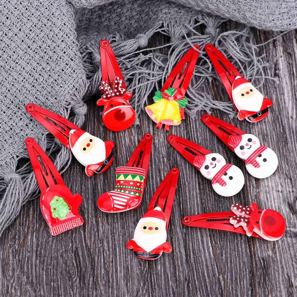 10Pcs//lot Xmas Cartoon Hair Clips Baby Girls Christmas Hairpins Hair Accessories