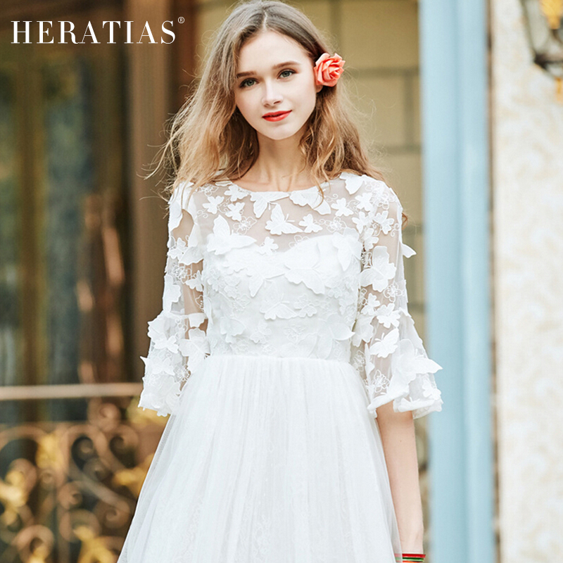 Women sweet flare sleeve Elegant 3D Butterfly Decorative Lace Wire Girdle Dress Party Evening Special Occasion Dress