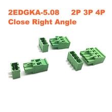 Pitch 5.08mm 2P 3P 4P Screw Plug-in PCB Terminal Block 2EDGKA 2EDGRC Close Right angle Pin male/female Pluggable Connector стоимость