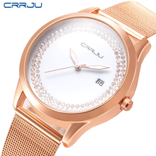 2016 CRRJU Steel Alloy Women Watch Fashion Luxury Bracelet Quartz Watches Ladies Rose Gold Silver Rhinestone Wristwatch Relojes