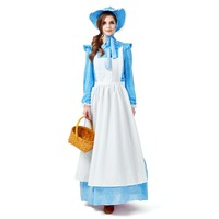 Womens Colonial Victorian Halloween Dress Maid Costume Period Gowns Reenactment Theatre Clothing Renaissance Medieval Costumes