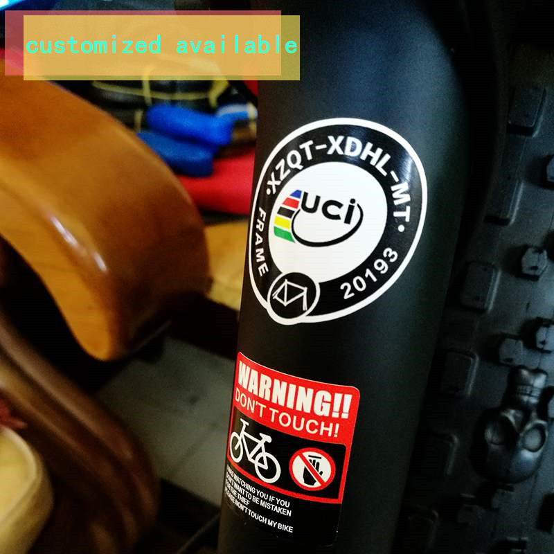 uci certification small label sticker bicycle union certification label bicycle decals customize frame name ID warning films