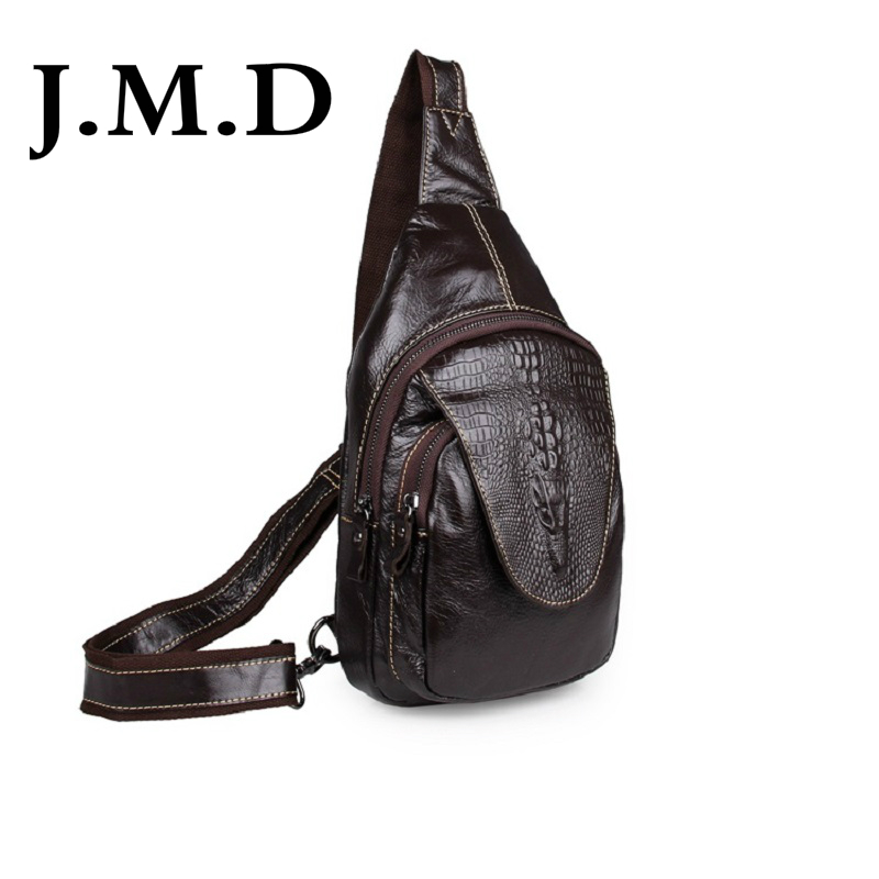 ФОТО J.M.D 100% Excellent Genuine Leather Chest Bag Alligator Pattern Vintage Mens Chest pack Shoulder Messenger Bag Handbag 7301