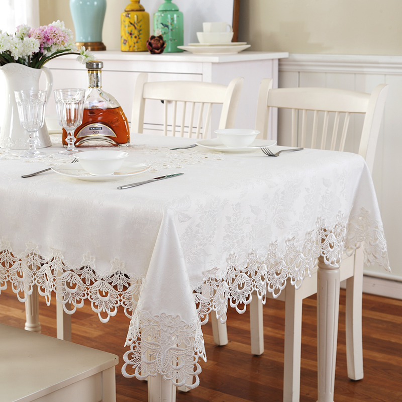 Gold Home hotel dining/wedding Red embroidered Table Cloth Jacquard Floral Rectangular Tablecloth