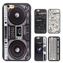 Graffiti Retro Camera Tape Consoles Calculator Keyboard Pattern Printed Back Cover Coque Case For iphone 7