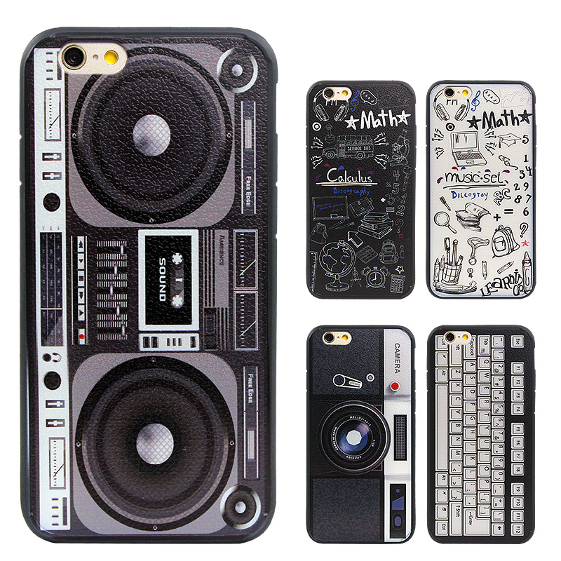Graffiti Retro Camera Tape Consoles font b Calculator b font Keyboard Pattern Printed Back Cover Coque