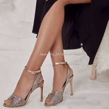 New Arrival Mat Champagne Gold Knot Designer Thin High Heel Ankle Wrap Buckle Summer Sandals Party Dress Shoes