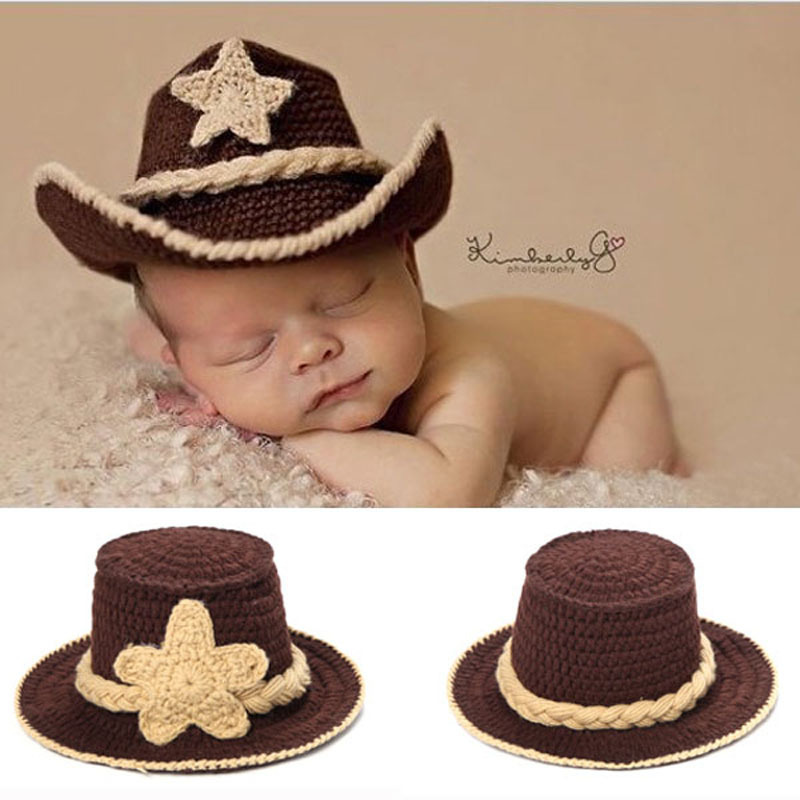 Newborn baby crochet western cowboy hat photo photography props handmade knit infant country cap cotton h083 in hats caps from mother kids on