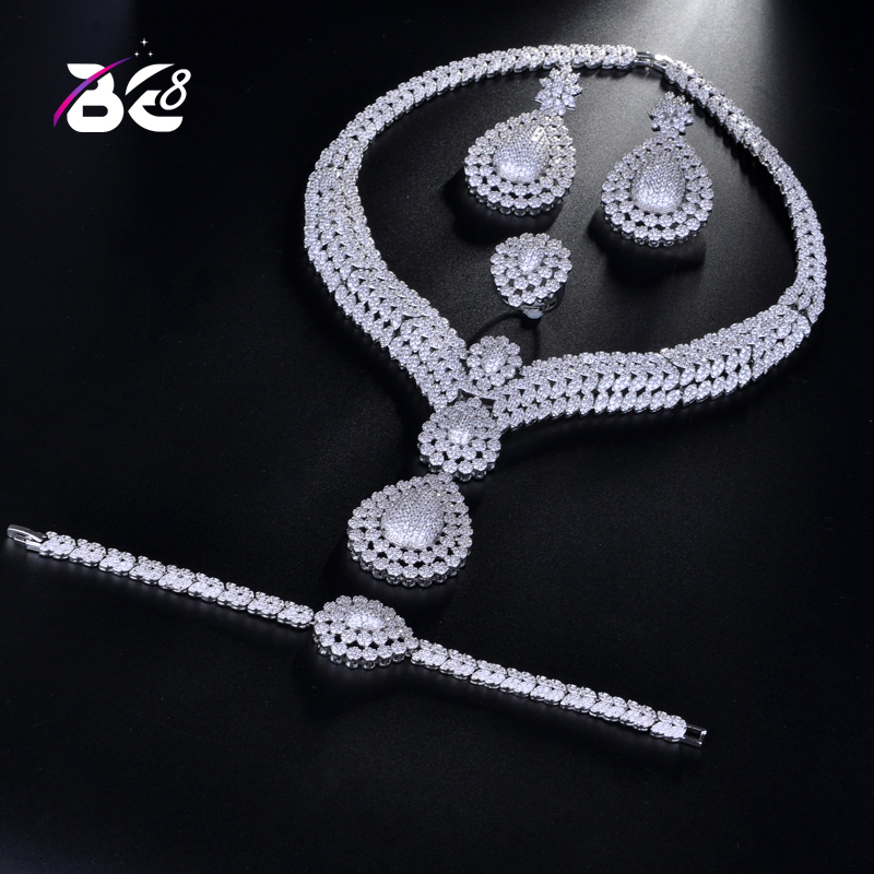 Be 8 New Design Luxury AAA Zircon Water Drop Shape Necklace Pendant Set for Women,high Quality Party/jewelry Wedding S177 chic multi layered water drop shape pendant necklace for women