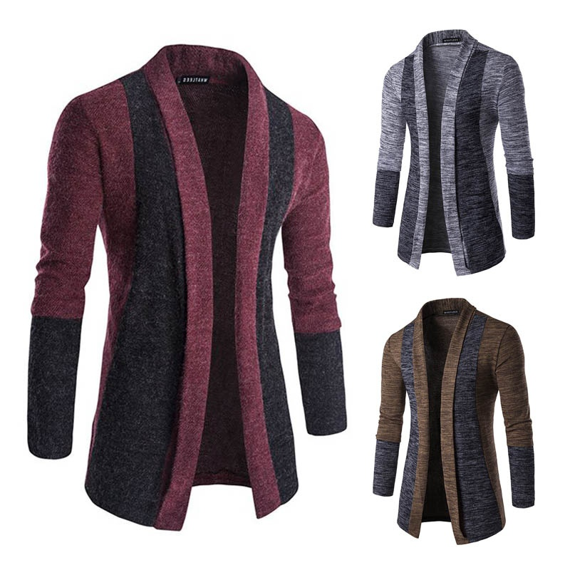 ZOGAA Sweater Men Brand Concise V-Neck Sweater Coat Cardigan Male Patchwork Contrast Color Slim Mens Cardigan Sweater Coat