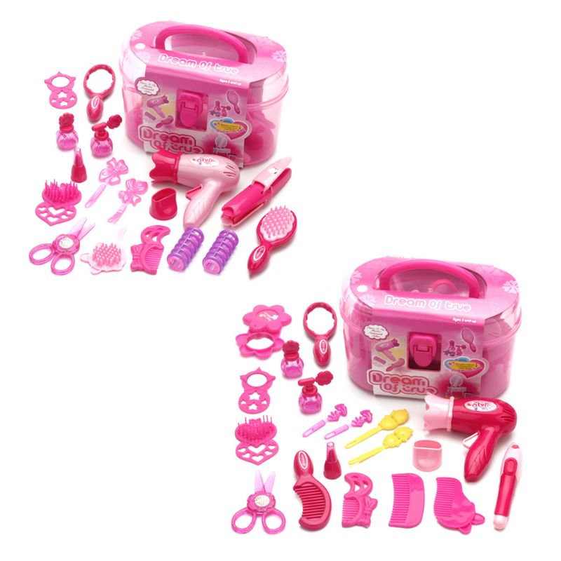 Children Pretend Play Kid Make Up Toys Set Hairdressing Simulation Cosmetic Girls Dressing Travel Kit