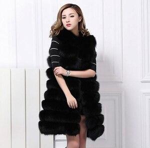 Zadorin europa moda 2020 inverno longo falso pele de raposa colete feminino casaco com capuz de pele do falso gilet sem mangas jaqueta mex S-3XL