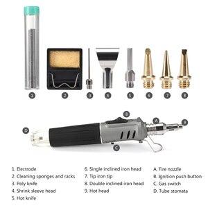 Image 2 - Soldador de Gas profesional 10 en 1 de hierro de soldadura de butano, Kit de antorcha de Encendido automático, llama ajustable, herramientas de mano para el hogar