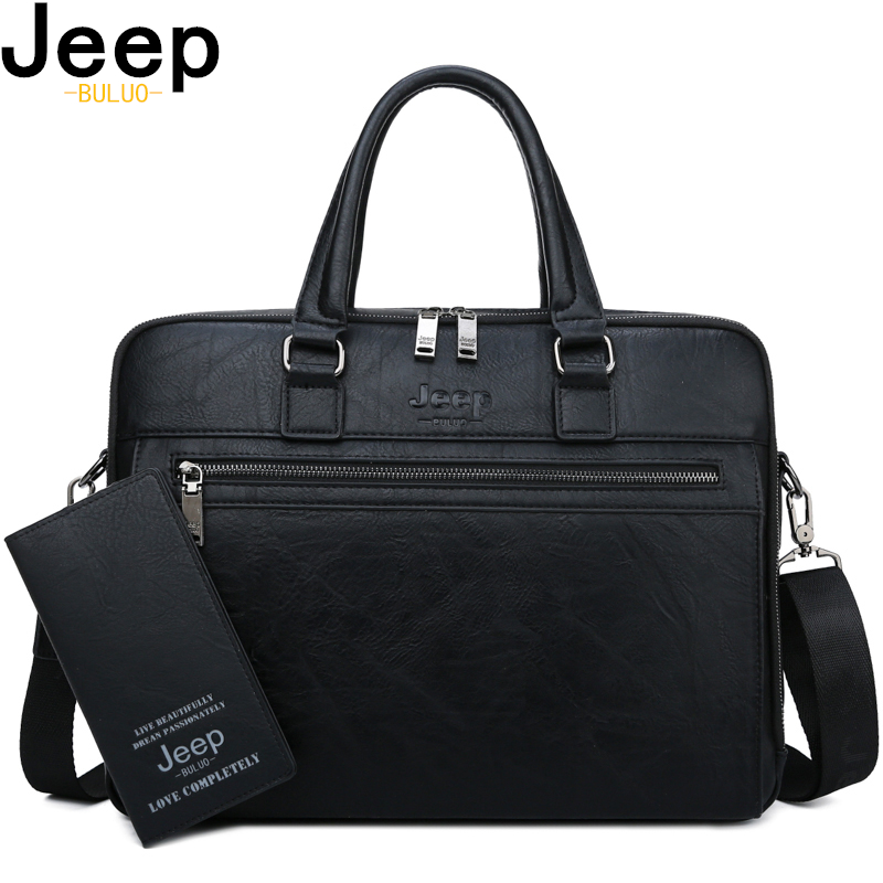 JEEP BULUO Brand High Quality Men Business Briefcase Bags For 14 Inch Laptop A4 File 2019 New Style Shoulder Travel Bag For Man