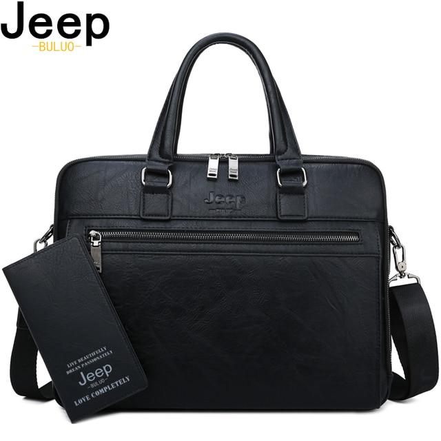 JEEP BULUO Maleta Homens de Negócios de Marca de Alta Qualidade Sacos Para 14 polegada laptop A4 Arquivo 2019 Novo Estilo saco de Viagem no Ombro saco Para O Homem