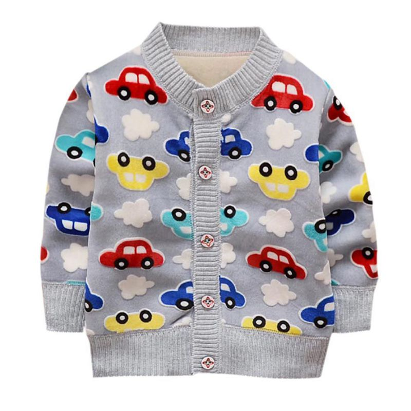Baby Boy Jackets Knit Cardigan Warm Cartoon Car Pattern Button Spring And Autumn Plus Cashmere Knitting Boys Clothing