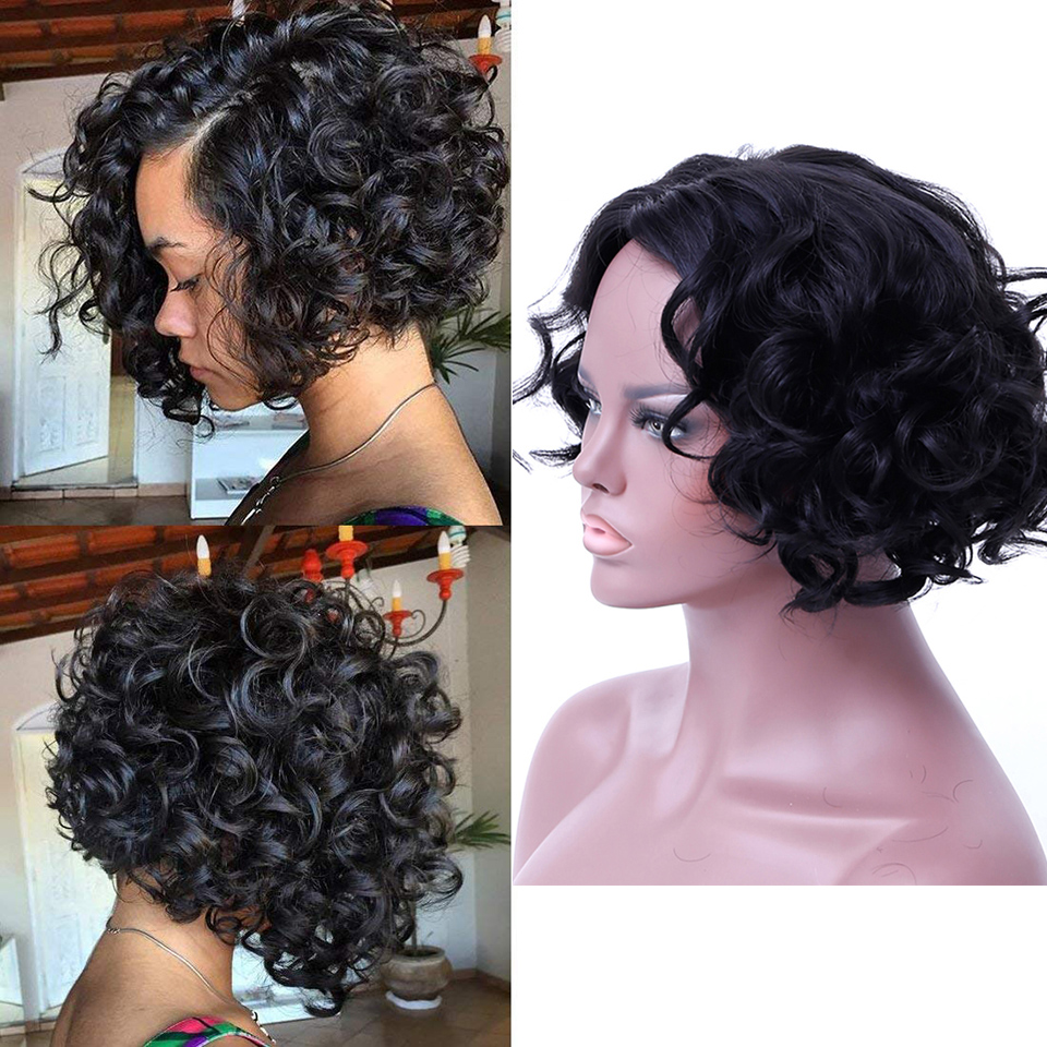 JINKAILI Short Bob Wigs for Women Short Curly Wigs Fluffy Wavy Black Synthetic Hair Wig Natural Looking Halloween Costume
