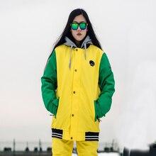 Зимние Для женщин желто-зеленый Лыжная куртка Водонепроницаемый ветрозащитная куртка с капюшоном теплый лыжный пальто теплая одежда сноуборд куртка верхняя одежда