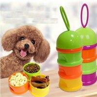 Filhote de cachorro Gato Cão de Estimação Lanches Tigela 3 Camada Portátil Caixa de Armazenamento Recipiente de Alimento recipiente Preservação Da Alimentação de Viagem Ao Ar Livre