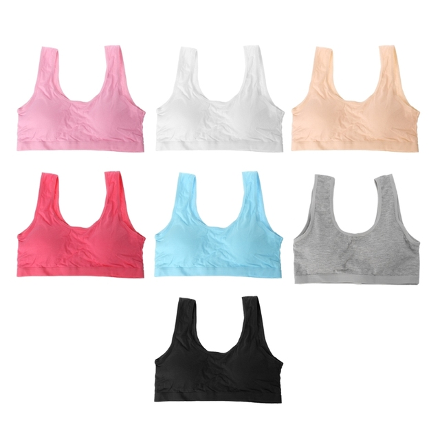8f453a2dcc1e1 Young Girls Training Bra Soft Breathable Cotton Bra Teenage Underwear  Wireless Puberty Lingerie Bra Children Sport