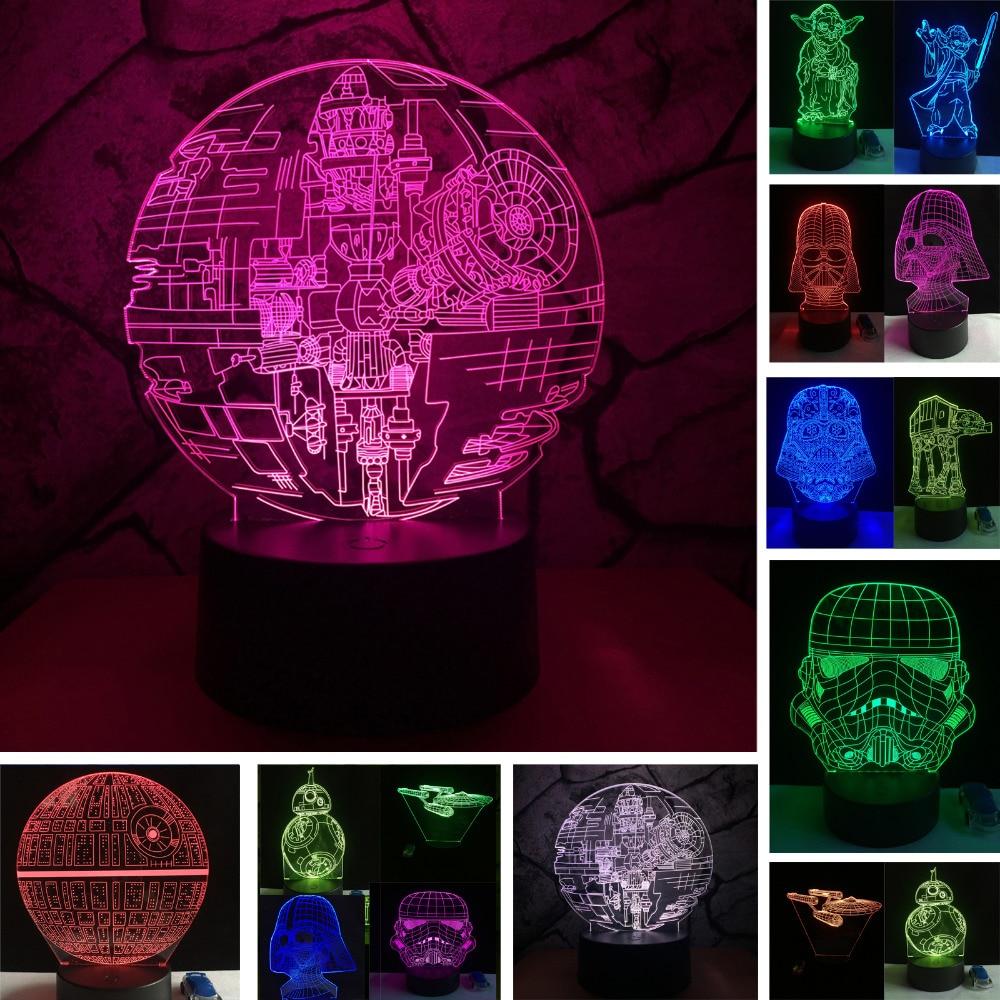 Krieg der sterne Fans Geschenke Death Star Darth Vader Master Yoda Jedi Führer 7 Farben Gradienten 3D Lampe LED Nacht Licht weihnachten Neue Jahr Geschenke