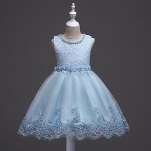Image 5 - 素敵なレースアップリケビーズ真珠フラワーガールドレスキッズイブニングドレス結婚式初聖体服vestido 1 10Years